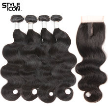 hot deal buy styleicon pre-colored peruvian hair bundles with closure non remy body wave human hair 3/4 bundles with closure free shipping