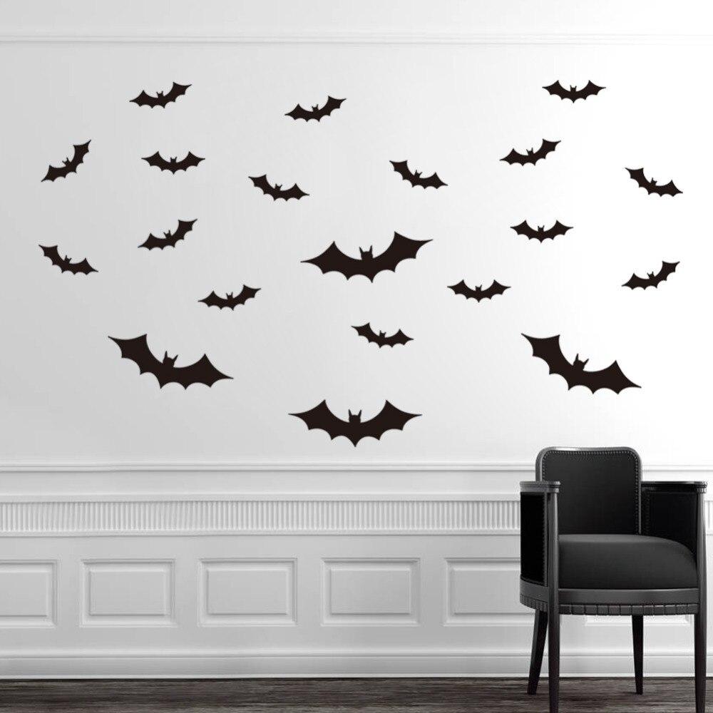 3d diy halloween party black 3d decorative bats wall sticker halloween eve decor home decoration