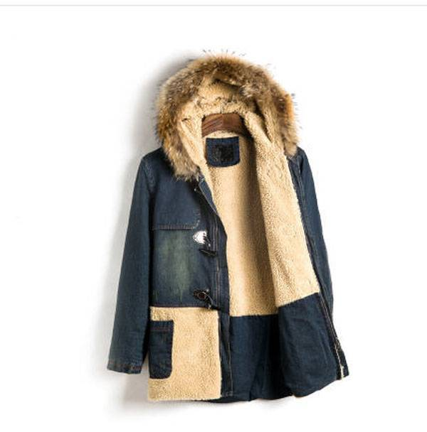 купить jaqueta masculina men rabbit fur hooded winter denim jacket thick cotton long section jeans coat outwear clothes for man S722 недорого
