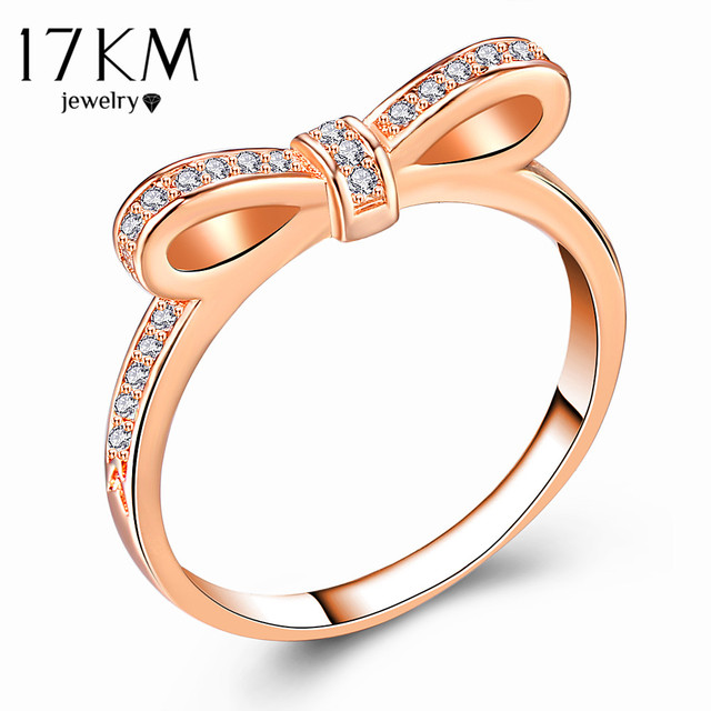 17KM Fashion Cubic Zirconia Bow Knot Rings For Women New Design Statement Ring F