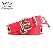 2017 canvas Genuine leather-based and Oil wax rope pin buckle Female Hollow eyes Belt For Women ornament Dress coat cummerbunds
