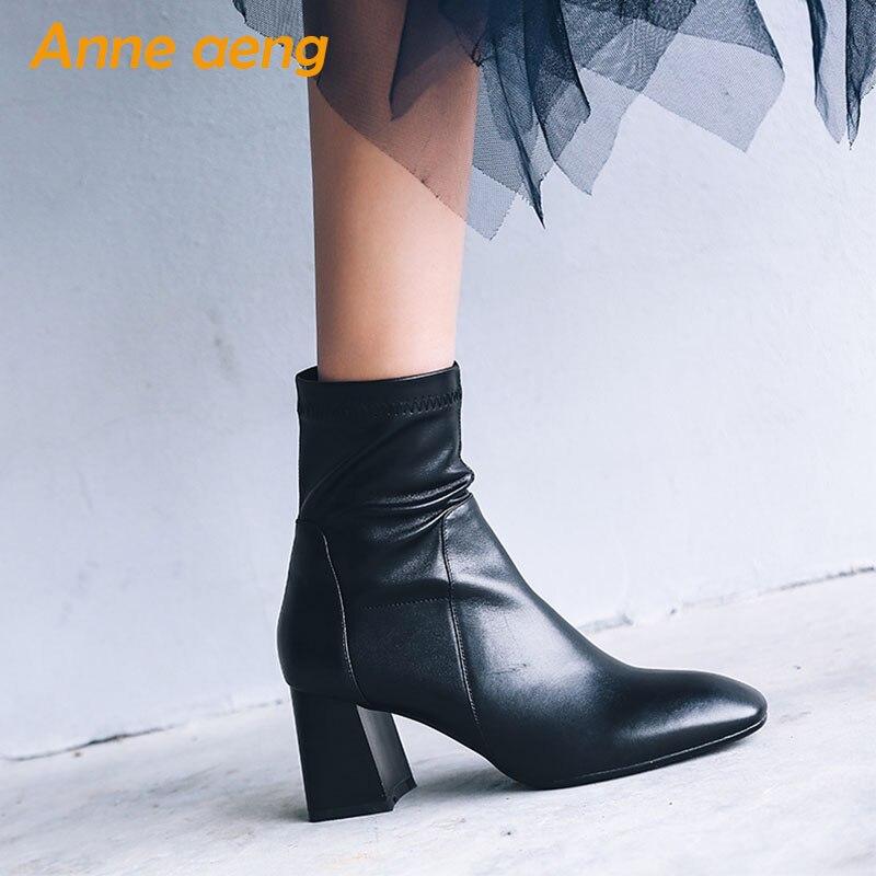 ... Quadrata Di black Alti Modo In black Colore Pelle Stivali 2019 Della  Signore Caviglia Scarpe Genuino ... 6dda1c235c9