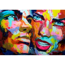High quality Hand-painted Francoise Nielly cool face palette knife painting portrait abstract impasto oil painting on canvas