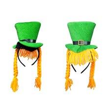 88ec7fd71d3b4 Nova Moda Unissex Chapéu Do Duende Verde Top Com Plait Cosplay Partido  Acessórios Para o Cabelo