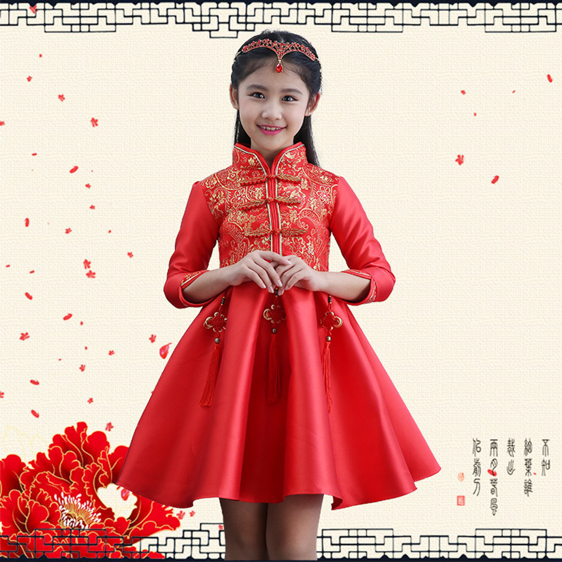 Baby Girl Traditional Chinese Style Garments Formal Occasion Flower Princess Ball Gown Christmas Dress New Year Children Clothes