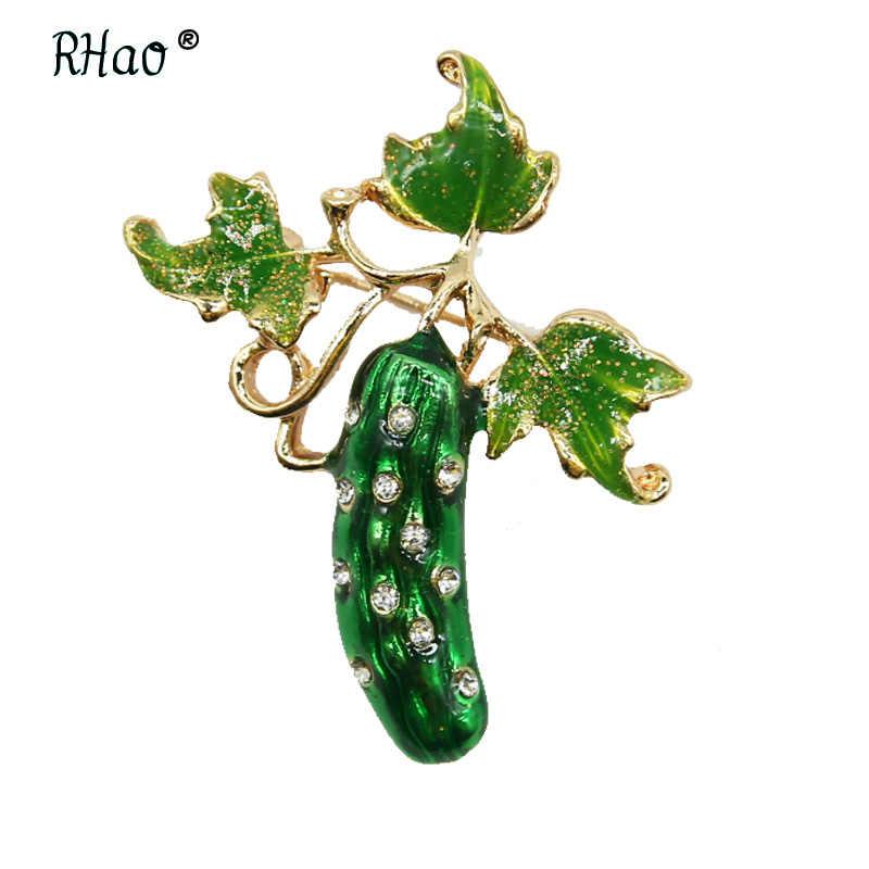 RHao mentimun Menyegarkan Hijau Enamel Bros pins Wanita Pria setelan Pakaian Korsase aksesoris Cuke tanaman perhiasan pins hadiah