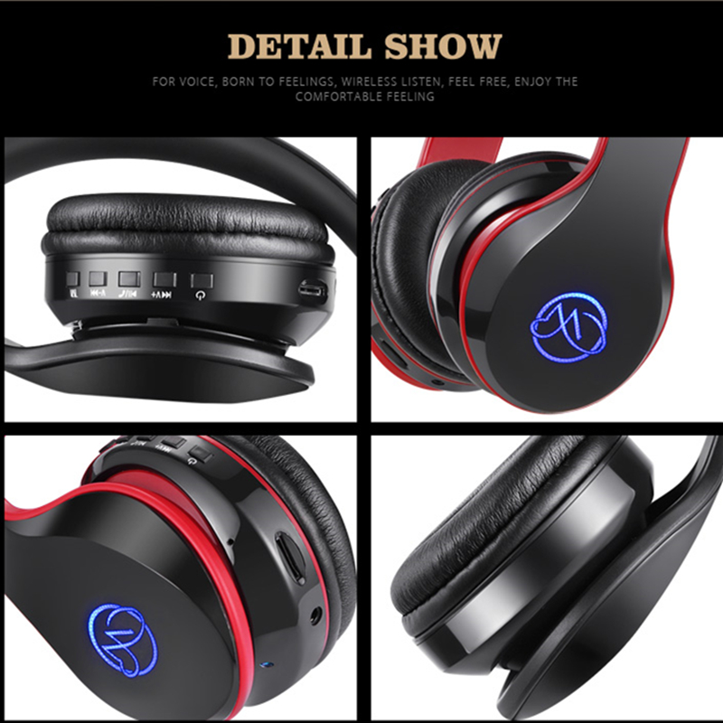 Tourya BH7 Wireless Headphones Bluetooth Headphone Glowing Headset With Mic LED Light Support TF Card For PC mobile phone xiaomi 4