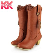 73008765d21b4 KemeKiss Vintage Mulheres de Salto Alto Botas Sapatos de Inverno Mulheres  Meados de Bezerro Botas de Couro Franjas Sexy Senhora .