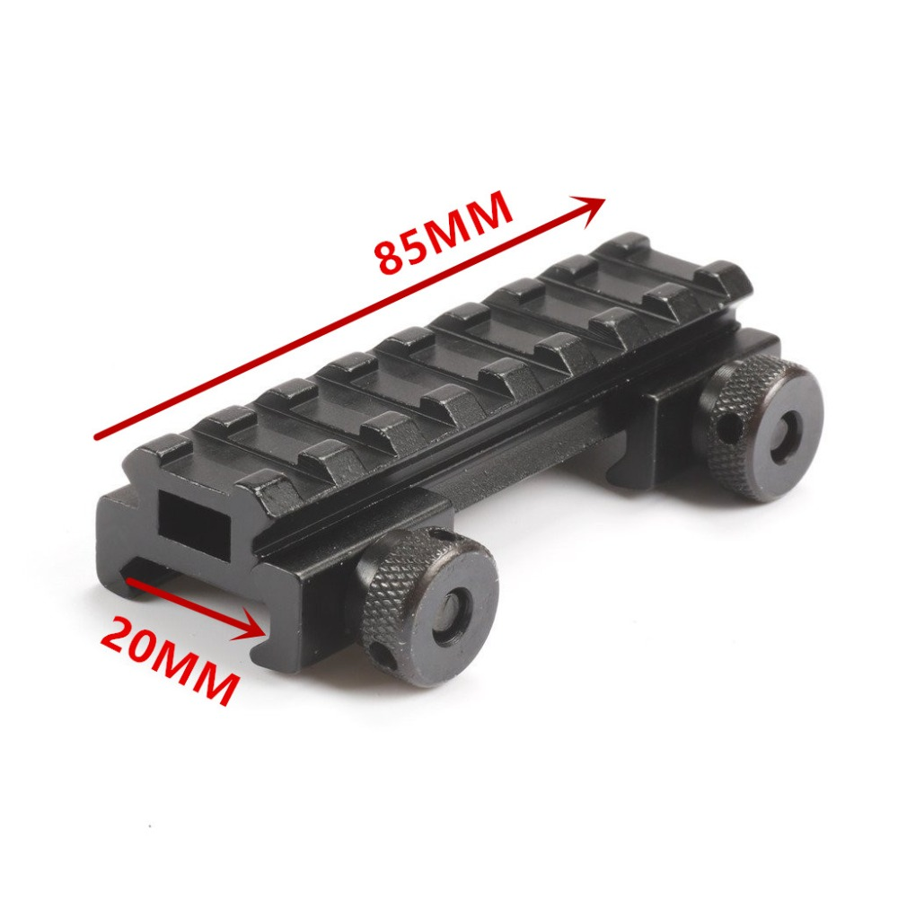 Mizugiwa 1pc 1/2(0.5) See-Thru AR Flat-Top High 8 Slot Riser Base Picatinny Rail Weaver 20mm Airsoft Hunting Scope Mount caza