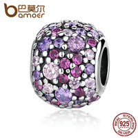 BAMOER 100 925 Sterling Silver Colorful Beads Charm Charms Fit Bracelets For Women Pulsera Fine Jewelry