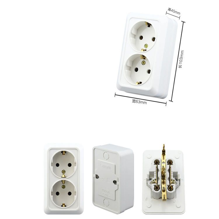High Quality Wall Power Dual Socket Plug Grounded, 16A EU Standard ...