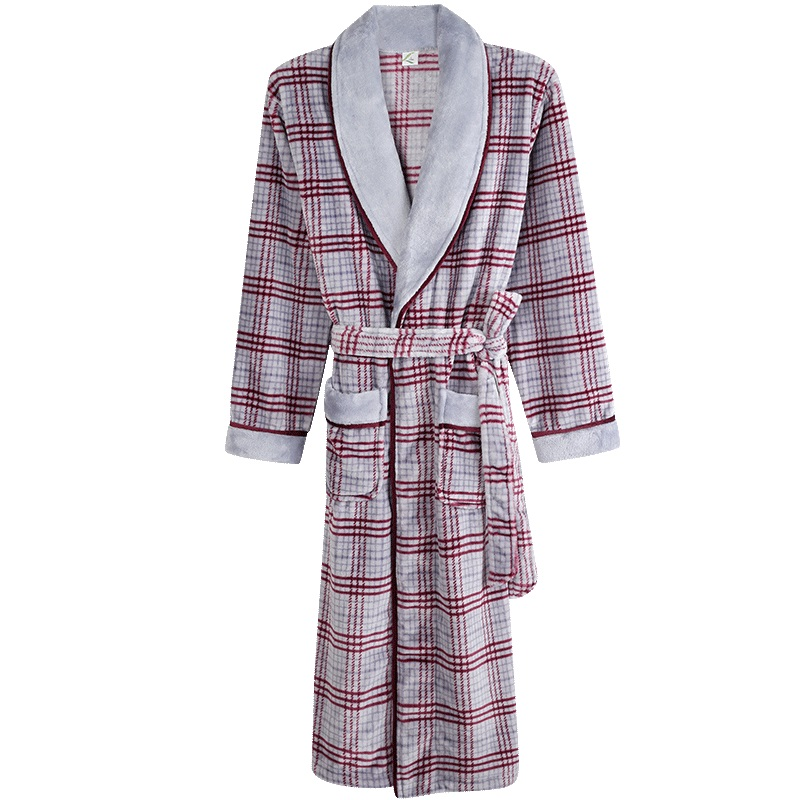 Plaid Robes For Men Warm Super Soft Flannel Coral Fleece Long Bath Robe Mens Kimono Bathrobe Male Dressing Gown Robes