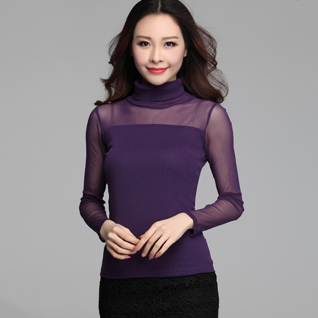 036c1150d822a4 Autumn Women Mesh purple Blouse Lace Shirts white lace blouse Turtleneck Tops  Ladies Clothes Plus Size plus size women clothing