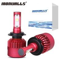 Ironwalls H4 H7 H11 H13 9006 Auto Led Koplampen Mistlampen 80 W 6500 K 9600Lm Hi-Lo Single Beam Alle In Een Koplamp 12 V 24 V