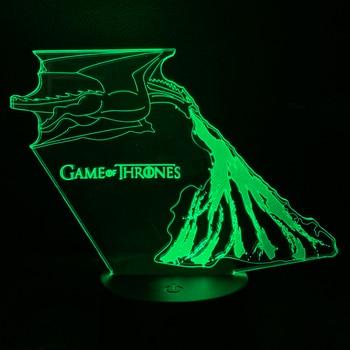 3d Led night light Game Of Thrones Night Lamp For Children dragon fire Daenerys Targaryen Nightlight Kid Bedroom