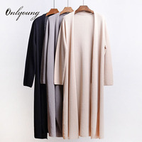 Onlyoung 2018 Summer Women Summer Knitted Long Cardigan Sunscreen Long Coat Knitted Sweater Black Grey Female Cardigan