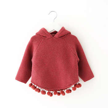 Autumn Winter Children\'s Sweaters Hooded Toddler Girls Knitted Sweater Casual Knitwear Baby Girls Clothes RT133