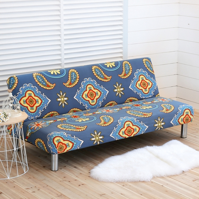 Bohemian Style Couch Sofa Covers Anti Dirty Slipcovers For Bed Without Armrest 1pc Blue