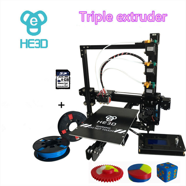 HE3D  the Newest EI3 triple nozzle large print size 3D printer kit with 2rolls filament+8GB SD card as gift