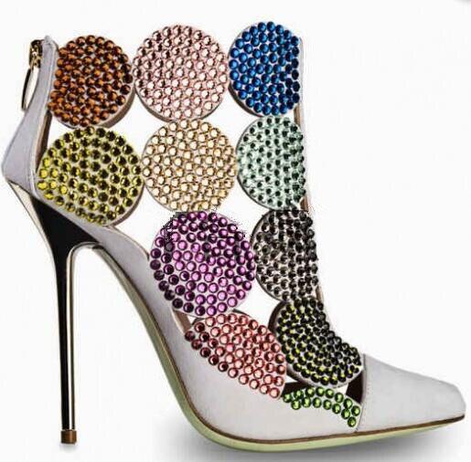 100% Wahr Abesire 2019 Neue Marke Damen Spitz Cut-outs Gladiator Sandalen Stiefel Frauen Gemischt Farbe Stiletto Heels Ankle Kristall Stiefel