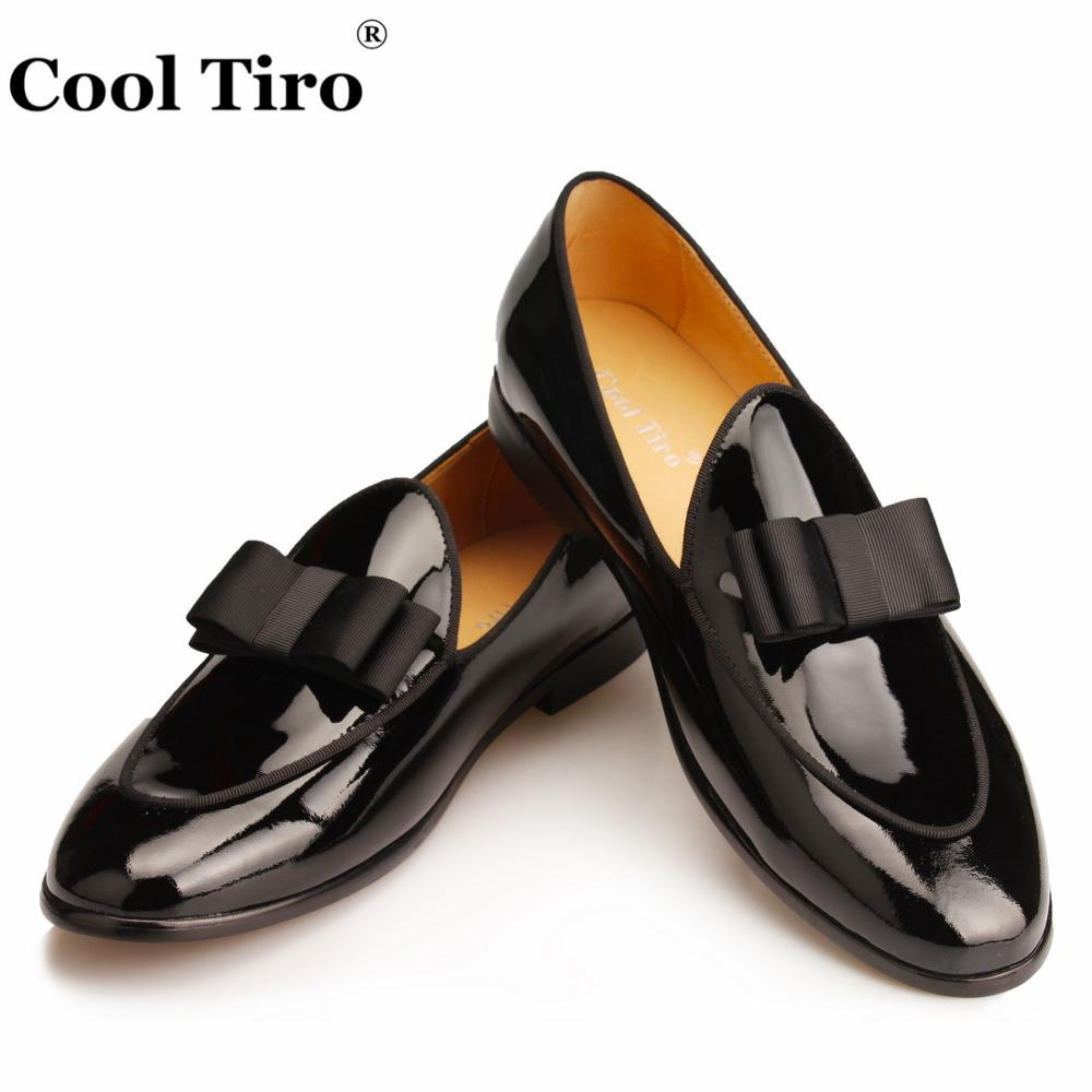 Cool Tiro Men Loafers Black Patent Leather Moccasins Man Slippers Bow Tie Men s  Dress Shoes Wedding Flats Casual slip on Shoes fe9510a009a0