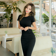 Elegant Dress Women Black Sexy Bodycon Long Plus Size Casual Office/Party Korean Summmer Dresses 2019 For