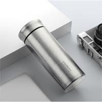 Feijian garrafa térmica titanium dupla parede copo térmico caneca de viagem água vácuo copo com chá infusor presente caixa|Garrafa térmica e frascos a vácuo|   -