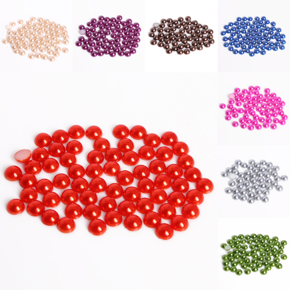 CRAFTS 4mm HALF ROUND RESIN IMITATION *PEARL BEADS* SCRAPBOOK RED