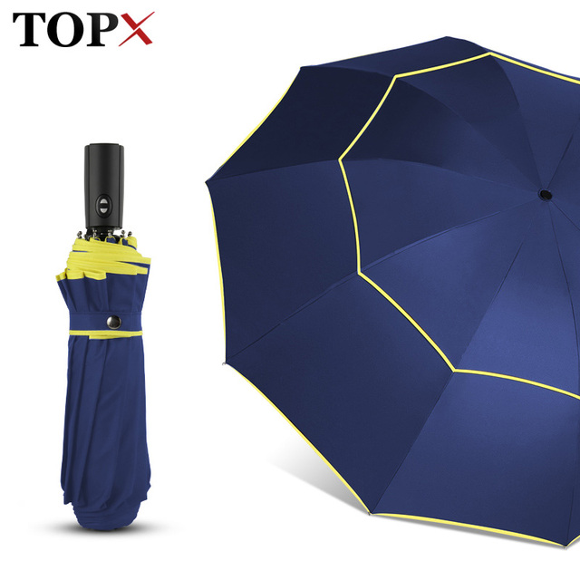 120cm Fully Automatic Double Big Umbrella Rain Women 3 Folding Wind