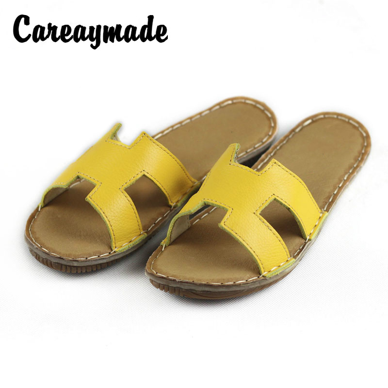 Careaymade 2019 summer the first layer of leather casual slippers women 39 s pure handmade simple and fashionable slippers in Slippers from Shoes
