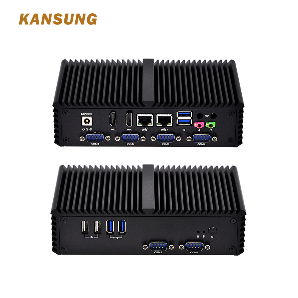 Free Shipping Mini PC Little Fanless Computer Intel Celeron With Dual Core 2 Gigabit Ethernet LAN 6 COM Small Computer K3215P