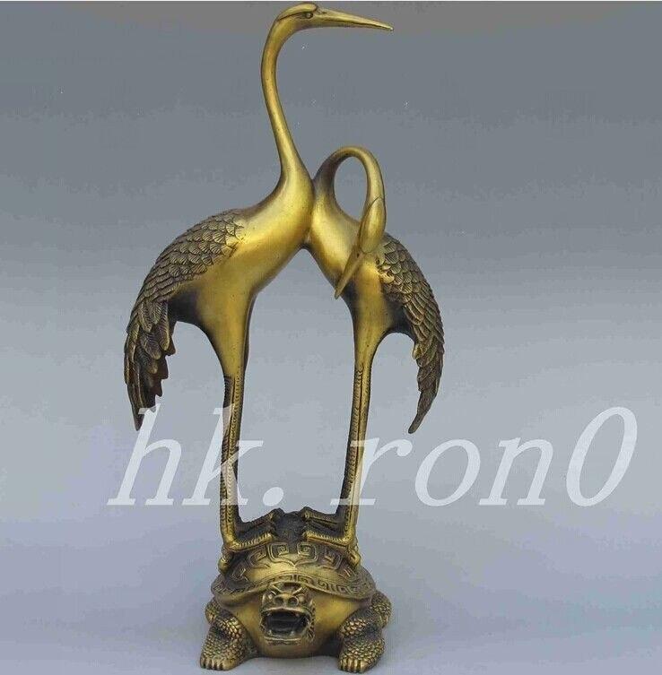 Разработка китайских Классическая античная латунь Дракон Черепаха краны статуя
