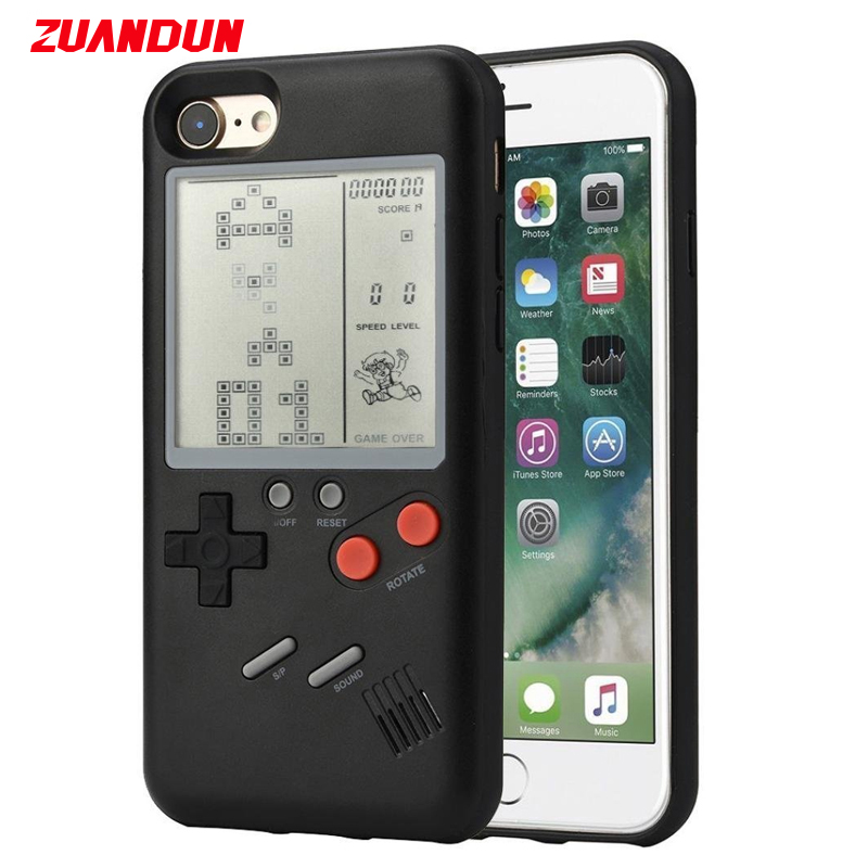 ZUANDUN Game Tetris Case For IPhone 8 8 Plus X 7 6 6S 3D With Screen