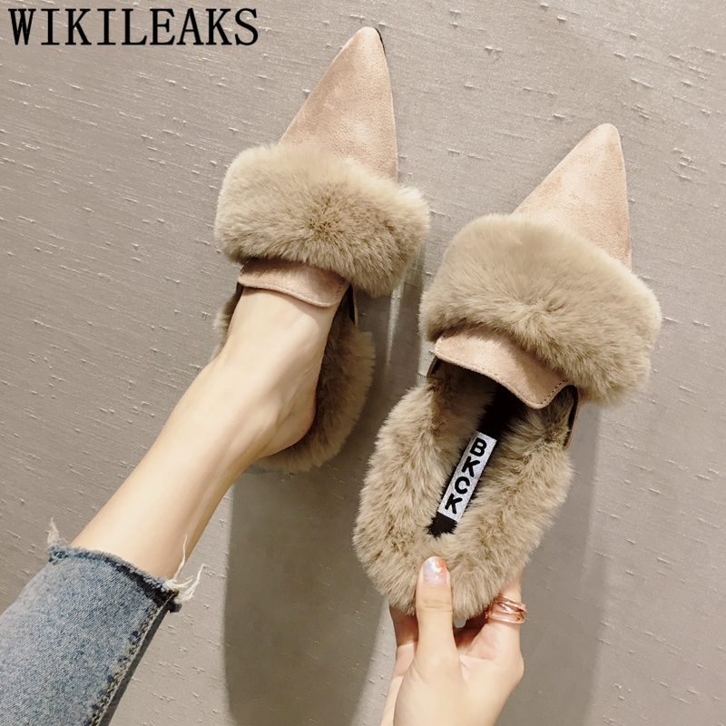 pointed toe ladies shoes woman slip on loafers women flats luxury brand fur mules zapatillas mujer casual slides sapatos mulher все цены