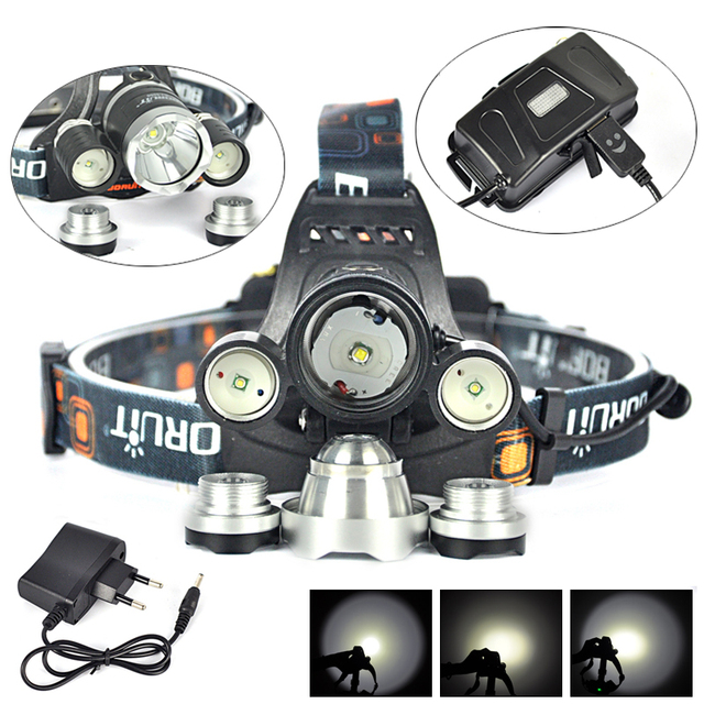 8000LM High Power XML L2+2R5 LED Bicycle Bike Front Head Light  Lamp lampe frontale USB Headlamp for Camping +Charger