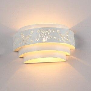 Image 1 - موردن جدار مصابيح الحد الأدنى الجوف منحوتة فراشة زهرة LED E27 جدار ضوء الشمعدانات للداخلية غرفة نوم الممر الممر ضوء
