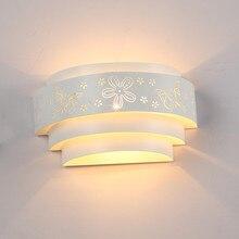 Morden โคมไฟติดผนัง Minimalist Hollow แกะสลักดอกไม้ผีเสื้อ LED E27 กำแพงแสง Sconces สำหรับห้องนอนในร่มทางเดิน Corridor Light