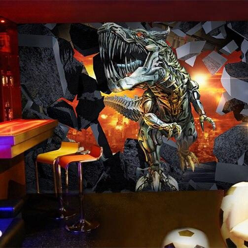 Пользовательские настенные росписи игровой зал кафе-бар ресторан фон детская спальня 3D Динозавр кирпичная стена росписи обоев