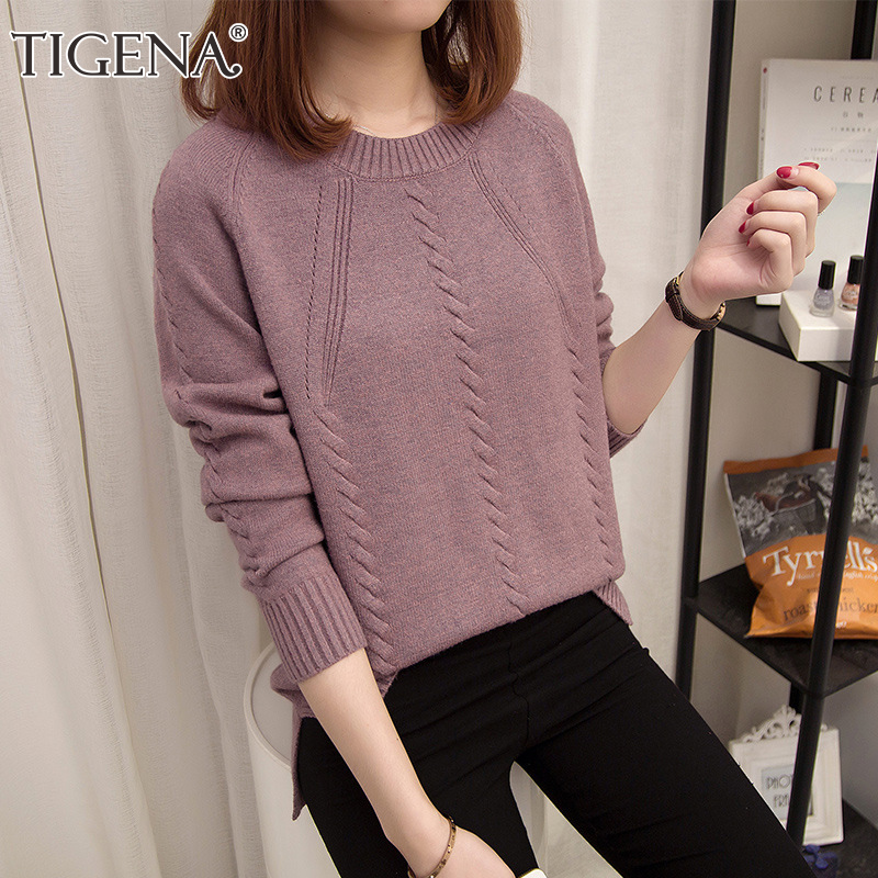 TIGENA New 2019 Autumn Winter Pullover Sweater Women O-neck Long Sleeve Knitted Sweater Female Army Green Purple Jumper Ladies