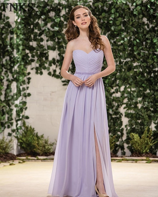 Sexy Split Side Lilac Bridesmaid Dress Off The Shoulder Sleeveless A Line Wedding Guest Gown