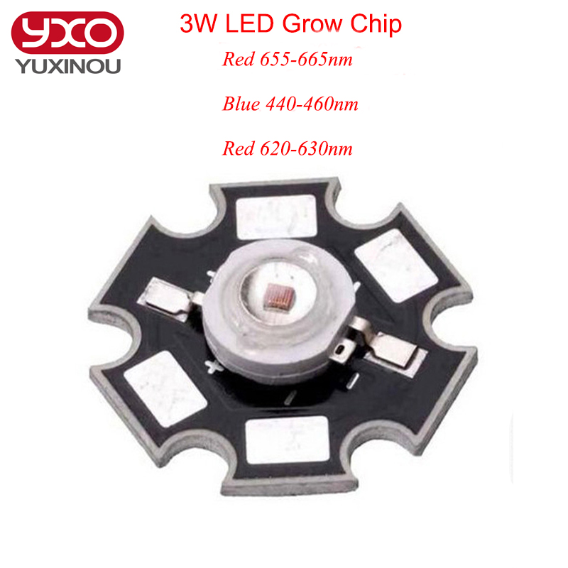 10pcs 3W 45mil Led Grow Chip Deep Red 655-660nm 620-630nm Royal Blue 440-460nm LED Diodes Plant Grow Light Lamp With 20mm