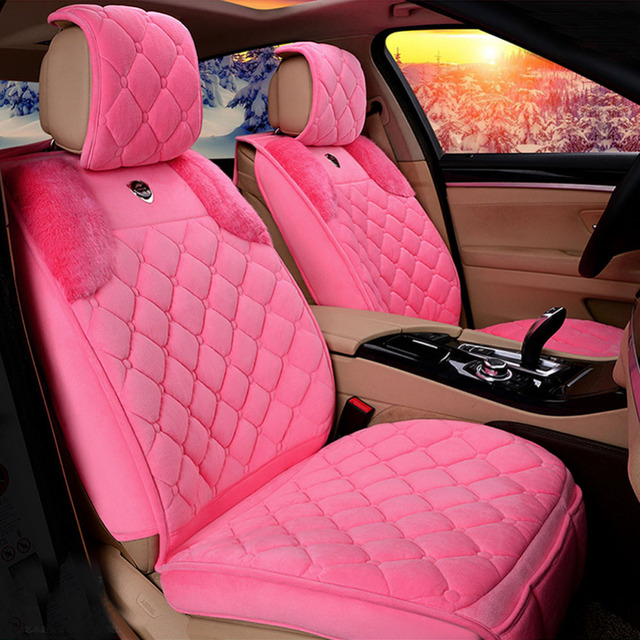 Lady Pink Car Seat Covers Short Plush Cute Interior Accessories Cushion Styling Winter New