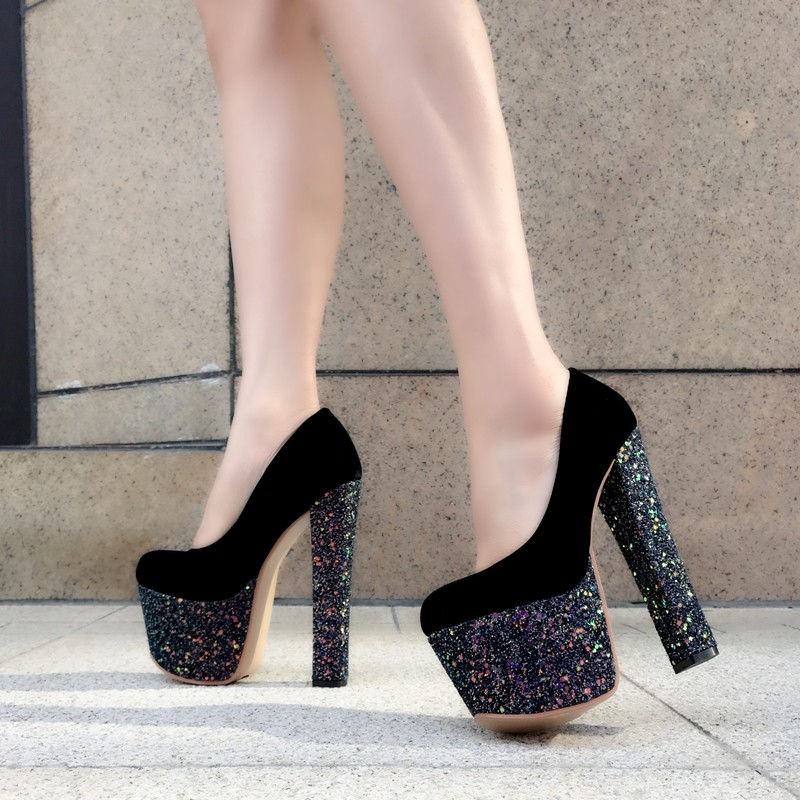 Super <font><b>high</b></font> women's single shoes European American style stage performance <font><b>17</b></font> <font><b>cm</b></font> <font><b>high</b></font> <font><b>heels</b></font> sexy comfortable sequins <font><b>high</b></font> <font><b>heels</b></font> image