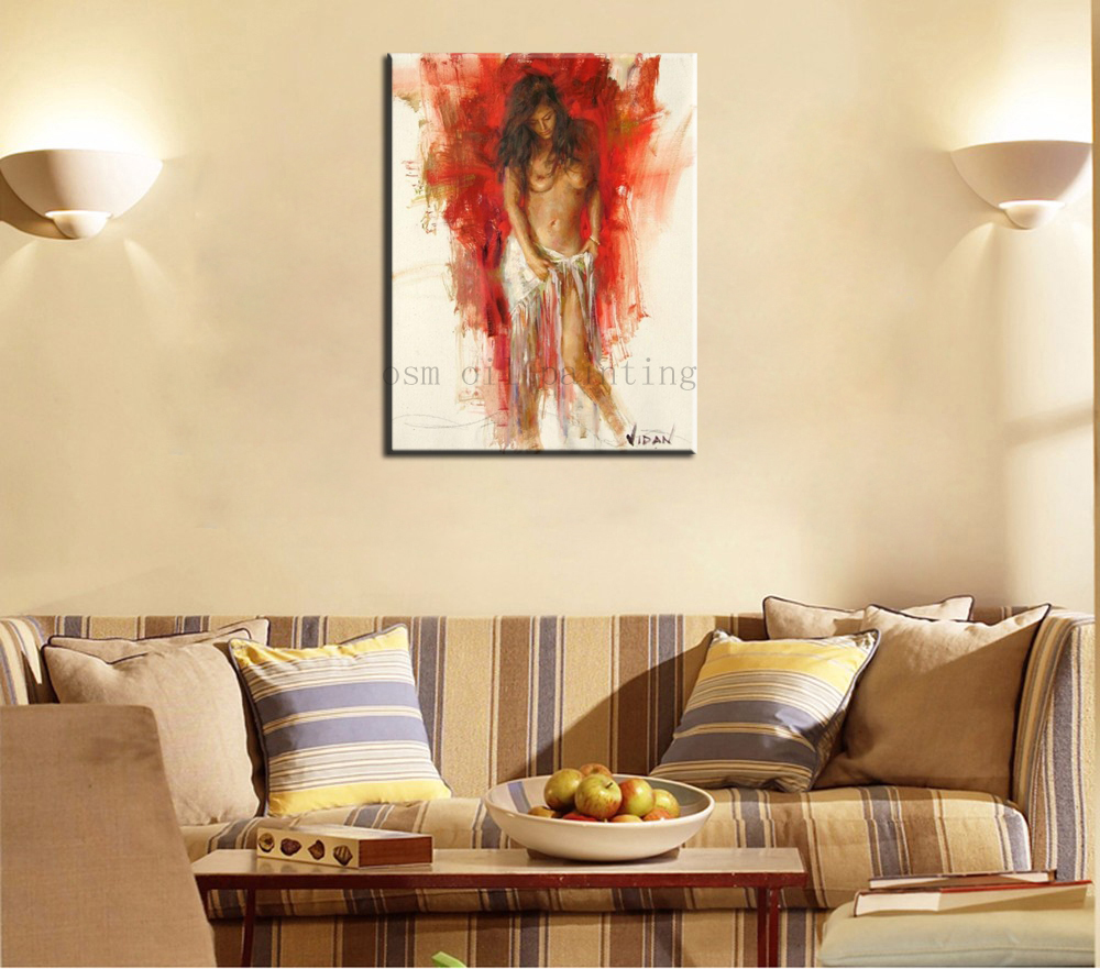 Handgeschilderde Mooie Sexy Naakt Meisje Wall Art Foto Rode Achtergrond Realistische Tekens Olieverfschilderij Slaapkamer Decor