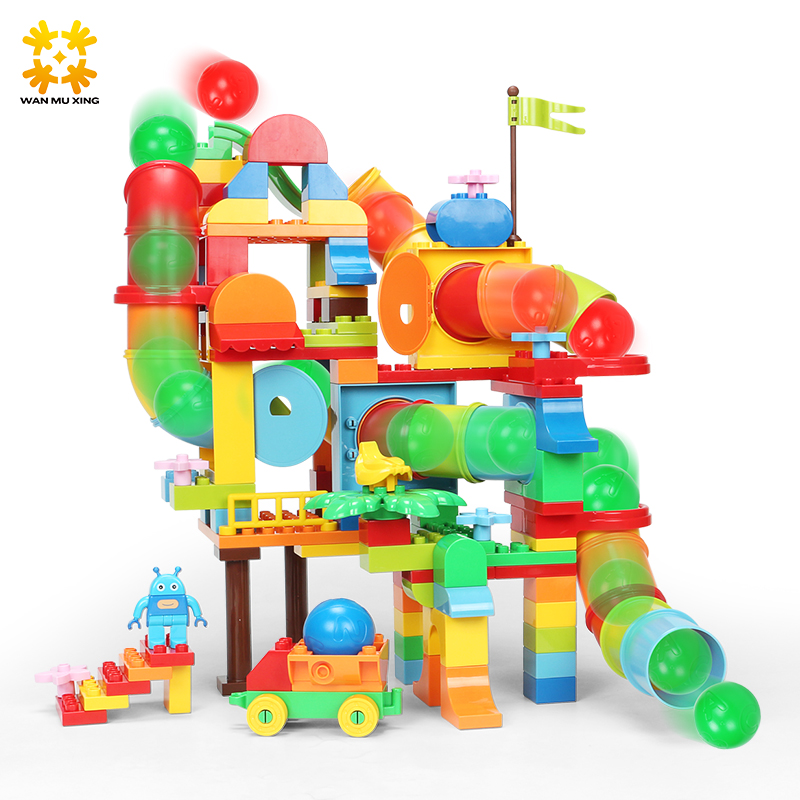 138PCS Baby Kids Pipeline Tunnel Block Slide Blocks DIY Assembling 3D Water Pipe Building Blocks Models & Building Toy commercial sea inflatable blue water slide with pool and arch for kids
