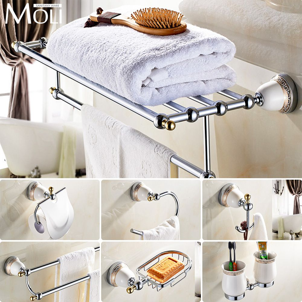 Bathroom accessories set online - Chinese Style Ceramic Chrome Bath Hardware Bathroom Accessories Set Robe Hook Paper Holder Toilet
