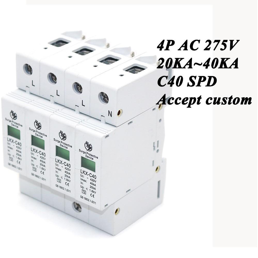 Hot Sale C40-4P 20KA~40KA ~275V AC SPD House Surge Protector Protective Low-voltage Arrester Device 3P+N Lightning Protection