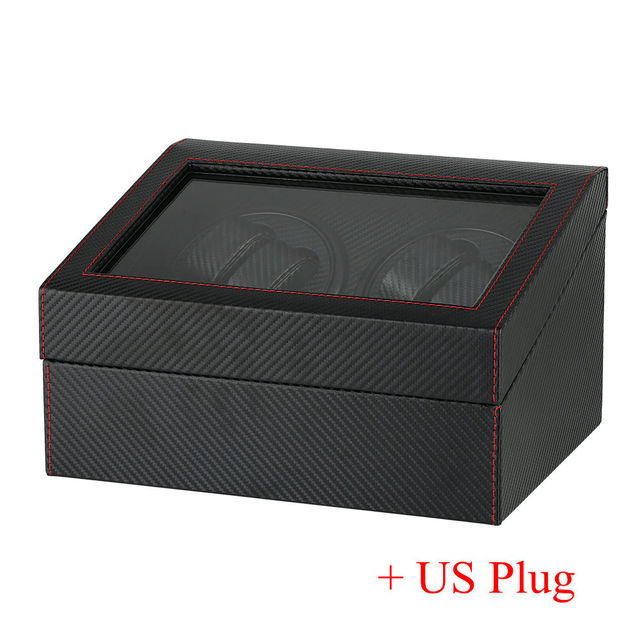US/UK/AU/EU Plug Watch Winders Black 4+6 Collection Watch Display Box Automatic Mechanical Black Quiet Motors Storage Boxes | Watch Boxes