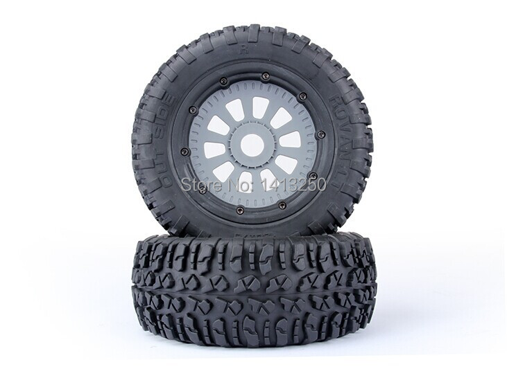 LOSI Tire  2pcs x Tyres and Wheels for LOSI 5IVE-T billet rear hub carriers for losi 5ive t