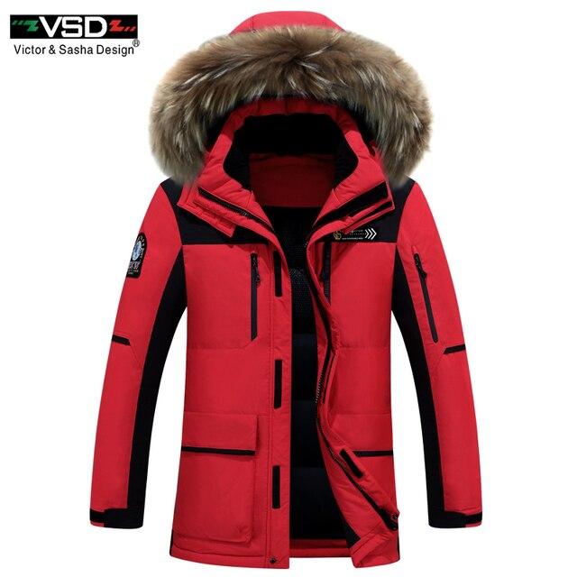 VSD Новинка 2017 года зимняя куртка-пуховик енота Мех капюшон Для мужчин; одежда высокого качества повседневные куртки утолщение Мужские парки мужской большой пальто 1806